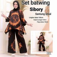 Baju setelan wanita tiedye jumbo terbaru motif batwing ld 130