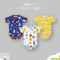 Velvet Junior Baju Kodok Segitiga Newborn Mr fox /Jumper Bayi Velvet - STARRY NIGHT, Kuning
