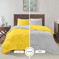 Two Tone Bedcover Sprei set ROMANTIC Embos 2 warna Kuning Vs Abu Muda