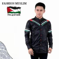 baju koko pria lengan panjang motif palestina size S M L XL