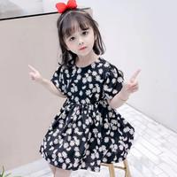 Pakaian Anak Perempuan Cute Cantik Dress Baju Anak Cewe Import - Hitam Kembang, 15/140