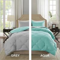 Two Tone Bedcover Sprei set ROMANTIC Embos 2 warna Toska aqua vs Abu