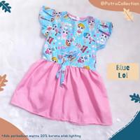 Baju Dress Anak Perempuan Usia 2 3 4 5 Tahun Blue Lol