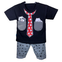 Setelan Baju Anak Bayi Sablon Levis Usia 0-12 Bulan