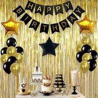 Paket Dekorasi Balon Pesta Ulang Tahun Tema Black & Gold