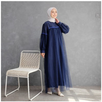 Baju Dress Gamis Maxi Wanita Lebaran Terbaru Model Moscrepe Tile Renda
