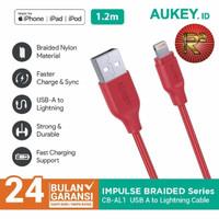 Aukey Cable CB-AL1 1.2M Lightning Braided MFI Apple Iphone Original