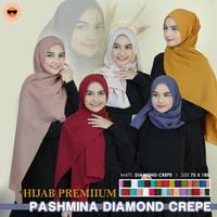 Pashmina Diamond Crepe Hijab Premium Polos bahan Halus Dan Premium