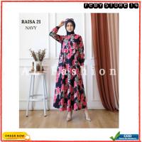Gamis Fashion Muslim Dress Wanita Maxi Raisa Modern Terlaris - Navy 21