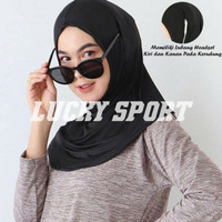 Jilbab Olahraga Jogging gym Lari Kerudung sport Hijab earphone headset