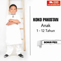Koko Turki baju Koko anak laki-laki katun/Koko anak-WHITE, 1-2 YRS