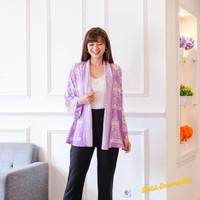 Outer Batik Wanita. Cardigan batik cap - Carousel lilac