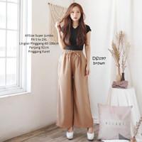 Celana kulot panjang wanita Basic katun Jumbo Baggy Pants Fit S to 2XL - Cokelat