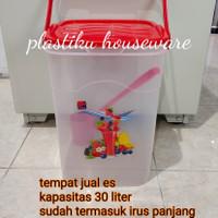 Toples plastik kotak jumbo 30Liter tempat jual es kelapa/ aquarium es