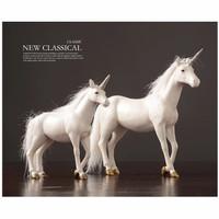 Pajangan dekorasi kuda unicorn putih - S