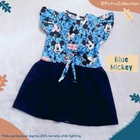 Baju Dress Anak Perempuan Usia 2 3 4 5 Tahun Blue Mickey
