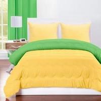 Two Tone Bedcover Sprei set ROMANTIC Embos 2 warna KUNING Vs HiJAU