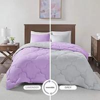 Two Tone Bedcover Sprei set ROMANTIC EMBOS 2 warna Abu Muda vs UNGU mu