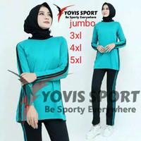 Setelan baju Senam wanita jumbo panjang muslim olahraga aerobik zumba