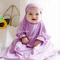 Baju Gamis Bayi Zedah Kids Syar'i Jersy Baju Muslim Anak Balita Wanita