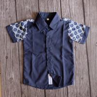 Nabhas Shirt (Kemeja Anak Dark Blue Navy Kombinasi Batik)