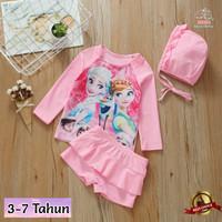Baju Renang Anak Perempuan Frozen Pink Lengan Panjang Usia 3-7 Tahun