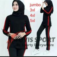 Setelan baju Senam wanita jumbo panjang muslim olahraga aerobik zumba - hitam hitam, 3XL