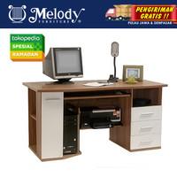 Furniture Meja Komputer Multifungsi MICRO 42002KWA French Walnut - Whi