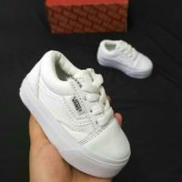 (Bisa COD) sepatu baby vans anak FUll white model Tali size 16-35 - 34/35