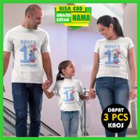 Kaos Couple Keluarga Ulang Tahun - Ultah Baju Family Gratis Cetak Nama