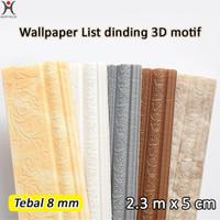List Dinding Wallpaper 3D Motif Bunga Panjang 2 Meter Lebar 8cm