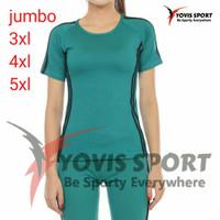 baju Senam wanita jumbo lengan pendek kaos olahraga cewe aerobik zumba