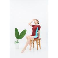 Baju Renang Wanita Dewasa Diving Dewasa Polos - MERAH KOM BIRU, M