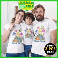 Baju Kaos Couple Keluarga Family Baby Shark Gratis Cetak Nama Dapat 3