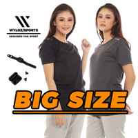 Baju Kaos Olahraga Jumbo Big Size Running Cewek Wanita Wyloz Sport Ori - Abu-abu, XXL