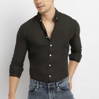 VENGOZ Kemeja Pria Slim Fit Premium - Solid Black Shirt LS