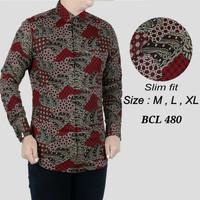 Batik , kemeja slimfit pria,baju batik cowo lengan panjang D 790