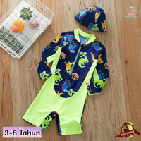 Baju Renang Anak Laki Laki Dinosaurus Hijau Lengan Panjang Usia 3-8 Th