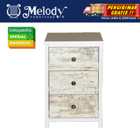Furniture Laci Serbaguna MENNO CHEST 3 DRAWER WHITE -CWPINE