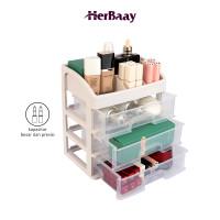 Kotak penyimpanan tiga lapis kosmetik kapasitas besar transparan