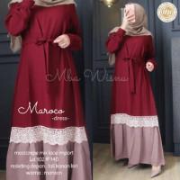 Gamis Maroco Renda Baju Wanita Busui Terbaru Gamis Syari Jumbo All Siz