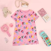 Dress anak perempuan / atasan / baju main anak 2 - 10thn flow kids - Pink-flowkids, 6-7 tahun