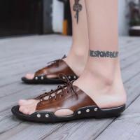 Fashion Sandal Pria Sandal Flip Flop Musim Panas Import - Ligtbrown, 38