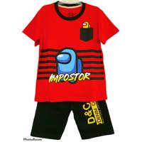 Setelan Anak Laki laki Among Us Merah 1-10 Tahun | Baju Anak