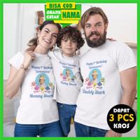 Baju Kaos Couple Keluarga Family Ulang Tahun Baby Shark dan Foto Anak