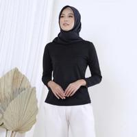 Wulfi Atasan Baju Manset Wanita Polyester Dalaman Anti Panas   Hitam