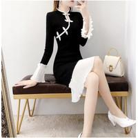 Dress Cheongsam Rajut Wanita Gaya Korea Untuk Musim Gugur/Dingin