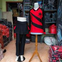 setelan baju senam wanita muslim terbaru merah denim spandex katun - L