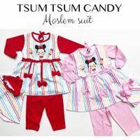 Tsum Tsum Moslem Set / Gamis Bayi Lucu Murah / Baju Muslim Bayi Cewe