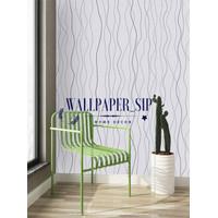 Wallpaper stiker dinding motif garis silver dasar putih
